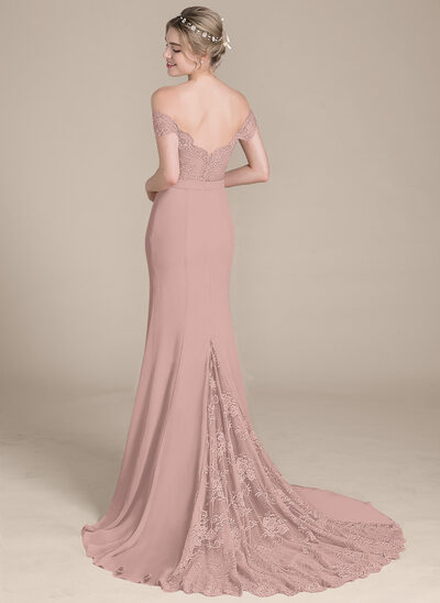 Trumpet/Mermaid Off-the-Shoulder Court Train Chiffon Lace Bridesmaid Dress With Beading Sequins