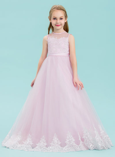 Ball Gown Floor-length Flower Girl Dress - Tulle/Lace Sleeveless Scoop Neck With Sequins/Bow(s)