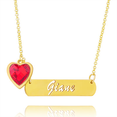 Custom 18k Gold Plated Bar Hollow Carved Name Necklace Birthstone Necklace - Christmas Gifts