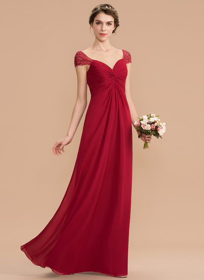 85829912518 A-Line Sweetheart Floor-Length Chiffon Bridesmaid Dress With Ruffle Beading  Sequins New