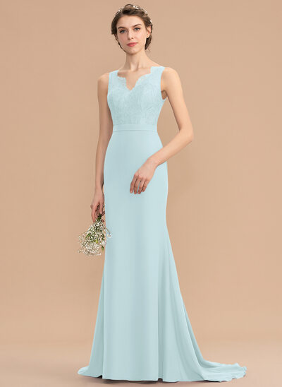 Trumpet/Mermaid V-neck Sweep Train Chiffon Lace Bridesmaid Dress