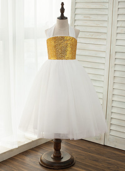 A-Line/Princess Ankle-length Flower Girl Dress - Tulle/Sequined Sleeveless Halter