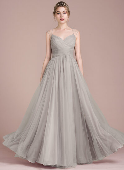 A-Line/Princess Floor-Length Tulle Prom Dresses With Ruffle Beading