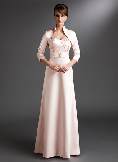 A-Line Sweetheart Floor-Length Satin Mother of the Bride Dress With Ruffle Beading