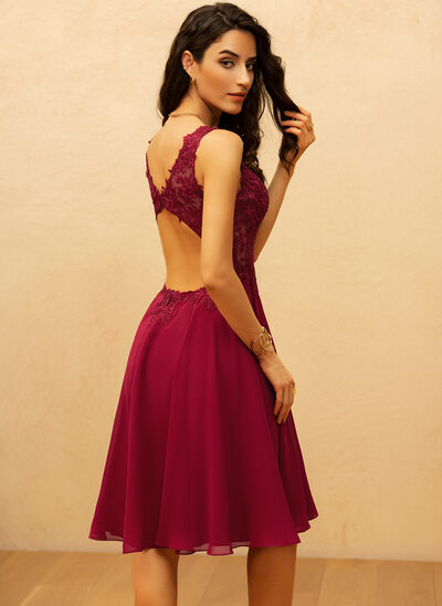 A-Line V-neck Knee-Length Chiffon Prom Dresses With Beading