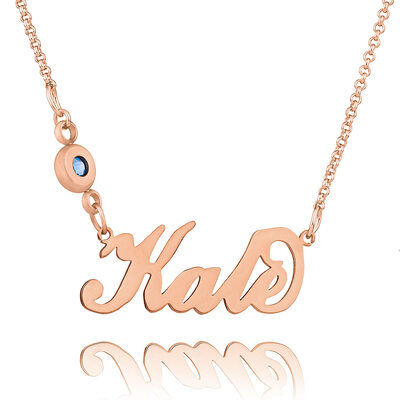 Christmas Gifts For Her - Custom 18k Rose Gold Plated Carrie Name Necklace Birthstone Necklace