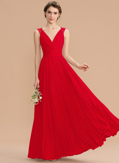 a17ecfe1853 A-Line V-neck Floor-Length Chiffon Lace Bridesmaid Dress With Pleated New