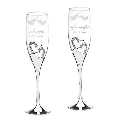 Groom Gifts - Personalized Elegant Alloy Glass Champagne Flutes
