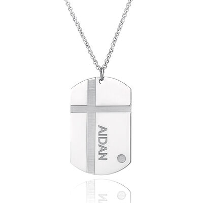 Christmas Gifts For Her - Custom Sterling Silver Engraved Necklace Nameplate