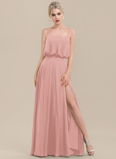 A-Line Square Neckline Floor-Length Chiffon Bridesmaid Dress With Split Front