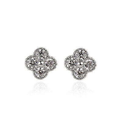 Ladies' Elegant 925 Sterling Silver With Diamond Cubic Zirconia Earrings For Bride/For Friends
