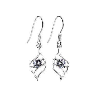 Ladies' Stylish 925 Sterling Silver With Diamond Cubic Zirconia Earrings For Bridesmaid/For Friends