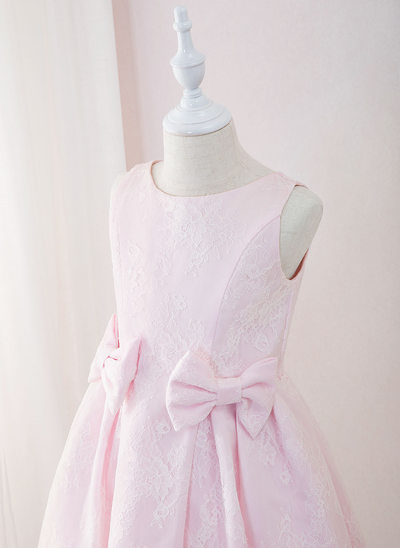 A-Line Tea-length Flower Girl Dress - Lace Sleeveless Scoop Neck With Bow(s)