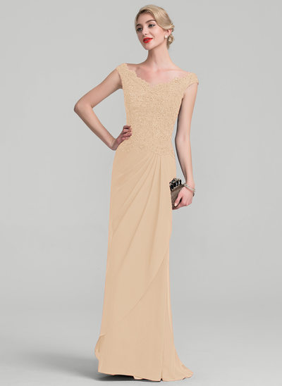 A-Line Off-the-Shoulder Floor-Length Chiffon Lace Evening Dress With Beading Sequins Cascading Ruffles