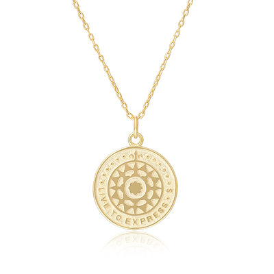 18k Gold Plated Silver Circle Pendant Necklace Discs & Circle - Valentines Gifts