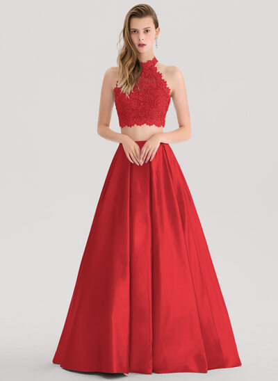 Ball-Gown/Princess Scoop Neck Floor-Length Satin Prom Dresses With Beading