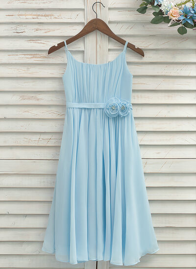 A-Line/Princess Tea-length Flower Girl Dress - Chiffon Sleeveless Straps With Pleated