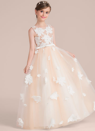 Ball Gown Floor-length Flower Girl Dress - Satin/Tulle/Lace Sleeveless Scoop Neck With Flower(s)/Bow(s)
