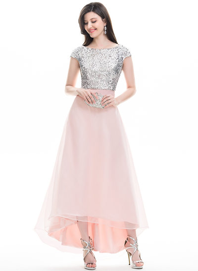 A-Line/Princess Scoop Neck Asymmetrical Organza Prom Dresses With Beading
