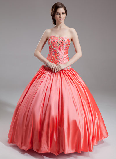 Ball-Gown Sweetheart Floor-Length Taffeta Quinceanera Dress With Beading