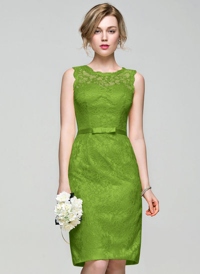 Sheath/Column Scoop Neck Knee-Length Lace Bridesmaid Dress With Bow(s)