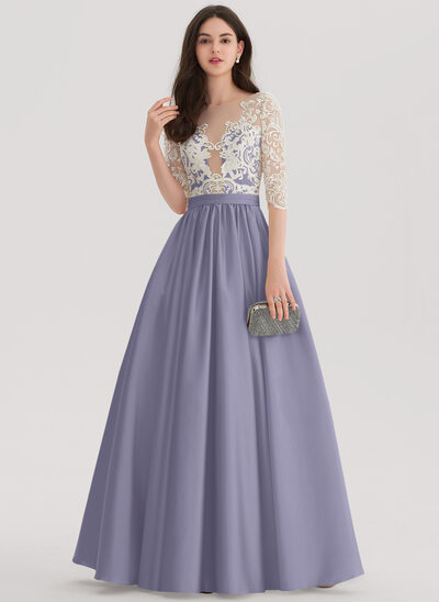 Ball-Gown/Princess Scoop Neck Floor-Length Satin Prom Dresses