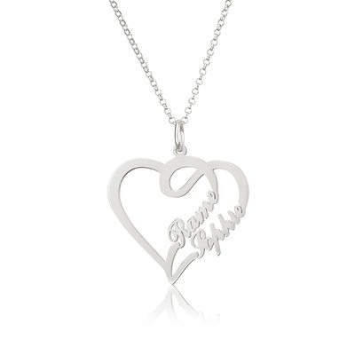 Custom Heart Two Name Necklace Heart Necklace - Valentines Gifts