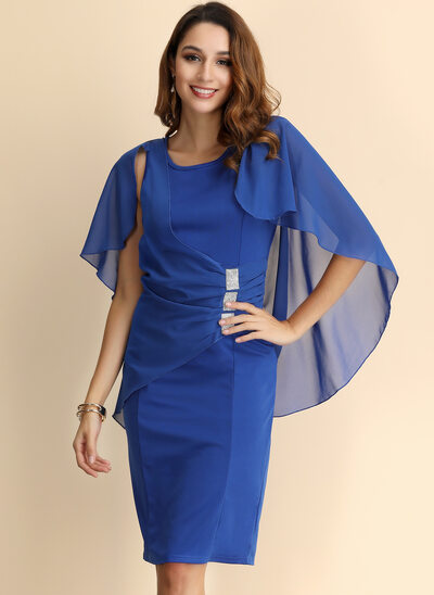 Sheath/Column Scoop Neck Knee-Length Mother of the Bride Dress