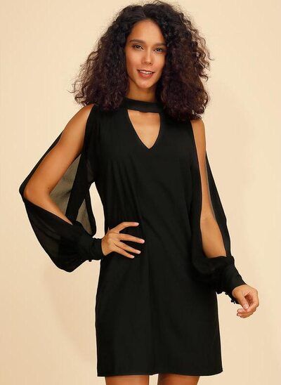 Forme Fourreau Col rond Court/Mini Polyester Robe de cocktail