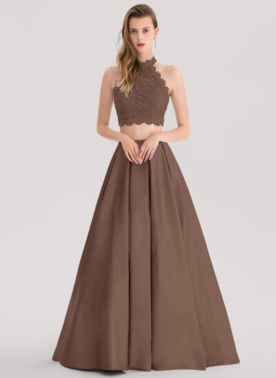 Ball-Gown Scoop Neck Floor-Length Satin Prom Dresses With Beading