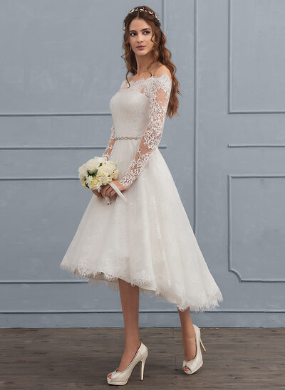 A-Line/Princess Off-the-Shoulder Asymmetrical Lace Wedding Dress With Beading