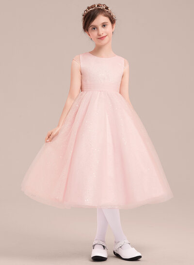 A-Line/Princess Tea-length Flower Girl Dress - Tulle/Sequined Sleeveless Scoop Neck With Bow(s)