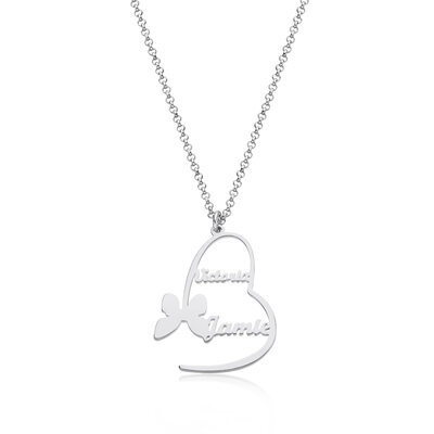 Custom Silver Heart Letter Name Necklace Heart Necklace With Butterfly - Birthday Gifts