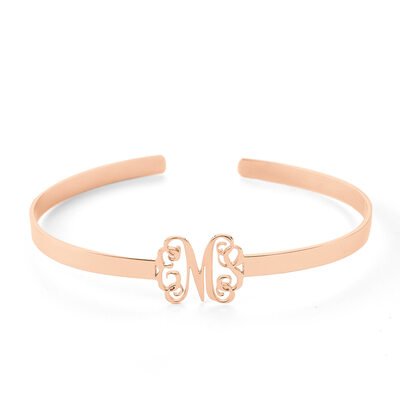 [Free Shipping]Christmas Gifts For Her - Custom 18K Rose Gold Plated Sterling Silver Cuff Bangles & Cuffs (106219649)