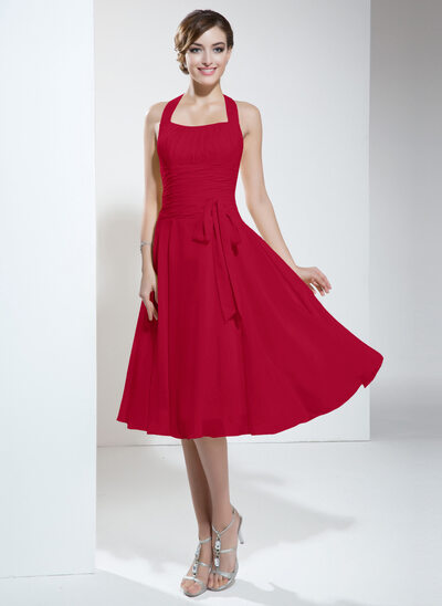 Halter Empire Knee-length Chiffon Bridesmaid Dress With Ruffle Bow(s)