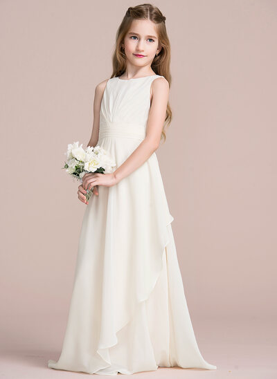 A Line/Princess Scoop Neck Floor Length Chiffon Junior Bridesmaid Dress  With Cascading