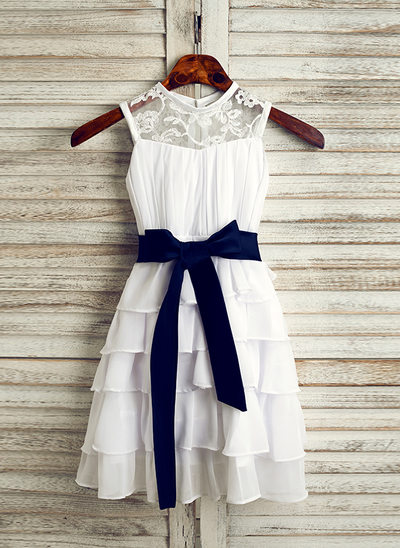 A-Line/Princess Tea-length Flower Girl Dress - Chiffon/Satin Sleeveless Scoop Neck With Lace/Sash