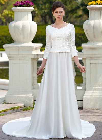 A-Line/Princess Scoop Neck Chapel Train Satin Wedding Dress With Embroidered Beading