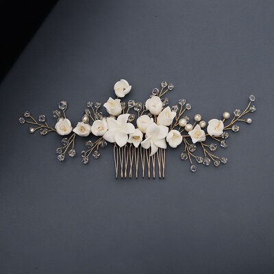 Ladies Beautiful Crystal/Imitation Pearls/Soft ceramics Combs & Barrettes With Venetian Pearl/Crystal (Sold in single piece)