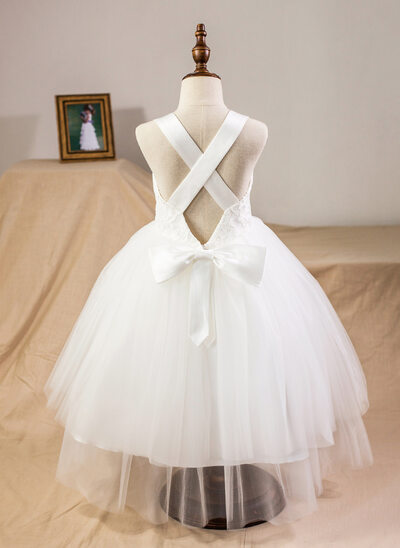 Ball Gown Tea-length Flower Girl Dress - Satin/Tulle/Lace Sleeveless Straps With Bow(s)