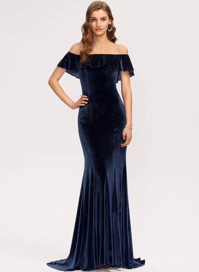 Trumpet/Mermaid Off-the-Shoulder Sweep Train Velvet Bridesmaid Dress