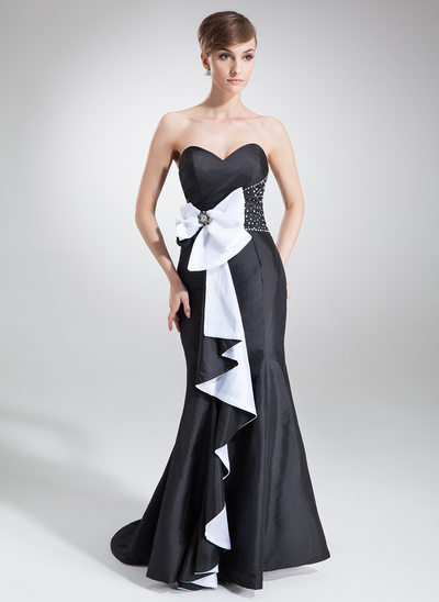 Trumpet/Mermaid Sweetheart Sweep Train Taffeta Holiday Dress With Beading Sequins Bow(s) Cascading Ruffles
