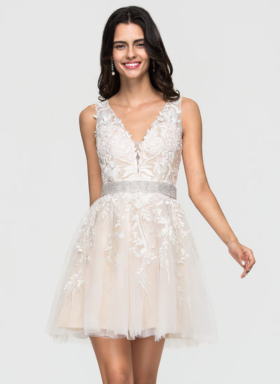 A-Line V-neck Short/Mini Tulle Wedding Dress With Lace Beading