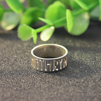 Personalized Ladies' Fancy 925 Sterling Silver With Round Name Rings For Friends/For Couple