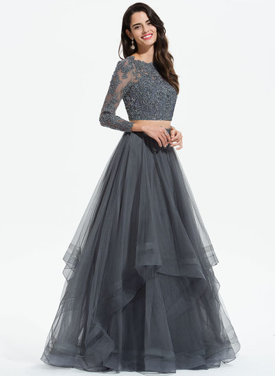 082471bed A-Line Scoop Neck Floor-Length Tulle Prom Dresses With Beading Sequins