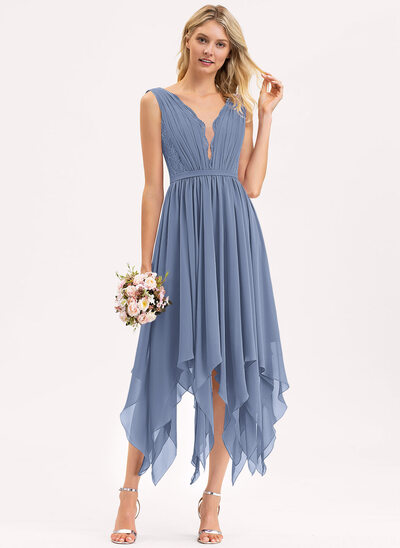 A-Line V-neck Ankle-Length Chiffon Lace Bridesmaid Dress