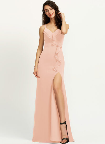 Sheath/Column V-neck Floor-Length Prom Dresses With Ruffle Split Front