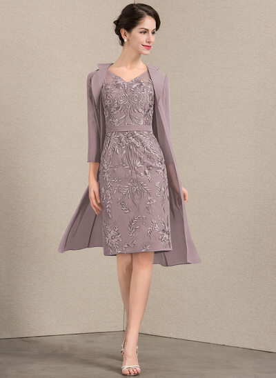 Sheath/Column V-neck Knee-Length Lace Mother of the Bride Dress