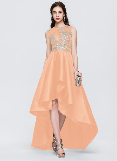 A-Line/Princess Scoop Neck Asymmetrical Satin Prom Dresses With Lace
