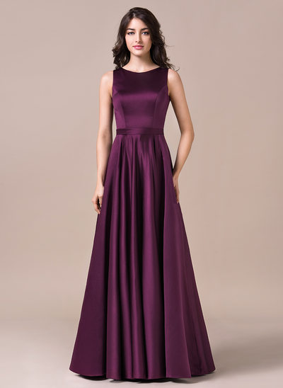 A-Line/Princess Scoop Neck Floor-Length Satin Prom Dresses